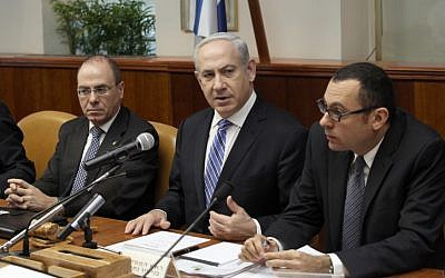 Prime Minister Benjamin Netanyahu at the opening of the weekly cabinet meeting at the Prime Minister's Office in Jerusalem, February 10 (photo by: Marc Israel Sellem/Flash90)