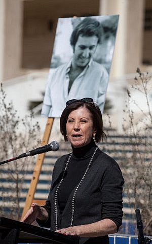Zahava Gal-on speaks at the memorial ceremony for Emil Grunzweig on Sunday 10th February 2013. (photo credit Flash90)
