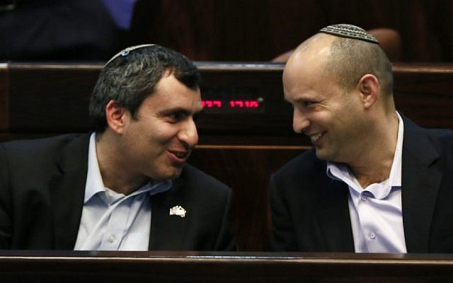 Jewish Home party leader Naftali Bennett (right) sits in Knesset with Likud's Zeev Elkin, Monday, February 11, 2013 (photo credit: Miriam Alster/Flash90)