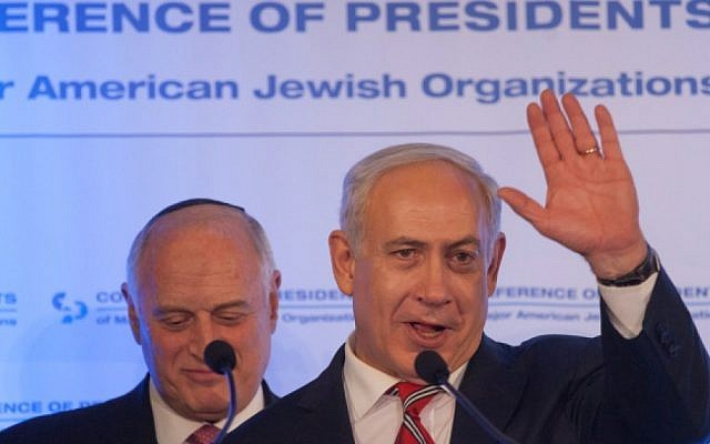 Benjamin Netanyahu addresses the Conference of Presidents, Monday (photo credit: Flash90)