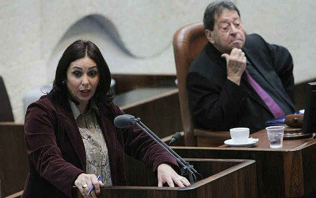 Interim Knesset Speaker Binyamin Ben-Eliezer looks on as Miri Regev of the Likud party gives a speech on February 13. (photo credit: Miriam Alster/Flash90)