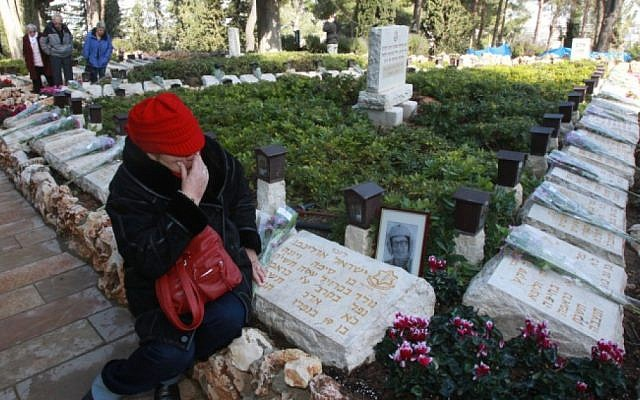 A ceremony at the military cemetery on Mount Herzl in Jerusalem for fallen soldiers whose burial place is unknown, Sunday (photo credit: Yossi Zamir/Flash 90)