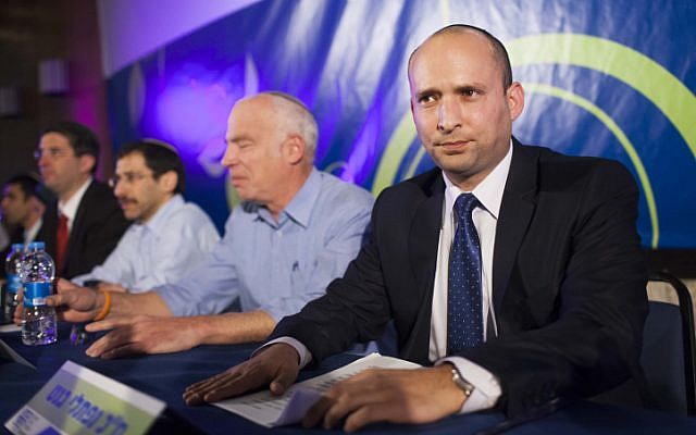 Leader of the Jewish Home party Naftali Bennett seen at a party conference in Jerusalem. February 20, 2013. (photo credit: Yonatan Sindel/Flash90)