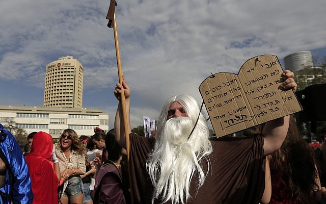 A modern Moses for Purim in Tel Aviv (photo credit: Tsafrir Abayov/Flash 90)