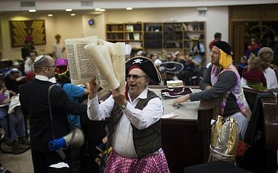 Men in skirts and wigs, an automatic Purim costume (photo credit: Yonatan Sindel/Flash 90)