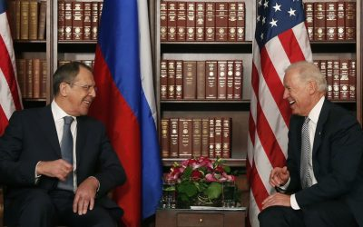 US Vice President Joe Biden, right, laughs as he talks to Sergey Lavrov, Foreign Minister of Russia, during the International Security Conference in Munich on Saturday. (AP Photo/Matthias Schrader)