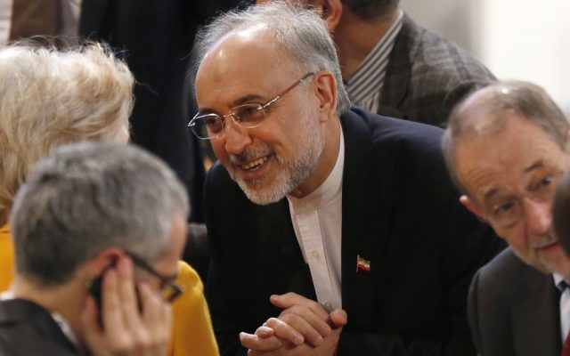 Iranian Foreign Minister Ali Akbar Salehi, center, arrives for the Security Conference in Munich, Germany, on Sunday, February 3, 2013. (photo credit: AP/Matthias Schrader)