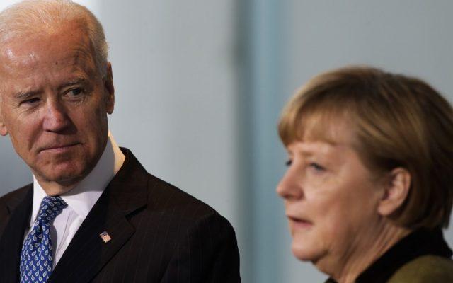 US Vice President Joe Biden, left, meets the press with German Chancellor Angela Merkel in Berlin, Germany, on Friday (photo credit: AP/Markus Schreiber)