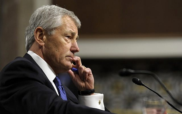 Former Nebraska Republican Sen. Chuck Hagel, President Obama's choice for defense secretary, testifies before the Senate Armed Services Committee during his confirmation hearing on Capitol Hill in Washington, Jan. 31 (AP/Susan Walsh)