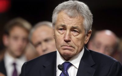 Former Senator Chuck Hagel testifies before the Senate Armed Services Committee during his confirmation hearing last month (photo credit: J. Scott Applewhite/AP)