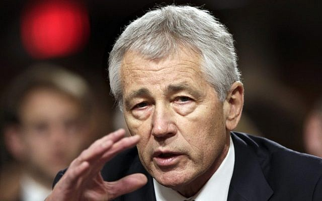 Former Nebraska Republican Senator Chuck Hagel, President Obama's choice for defense secretary, testifies before the Senate Armed Services Committee during his confirmation hearing, on Capitol Hill in Washington on January 31. (photo credit: AP Photo/J. Scott Applewhite)
