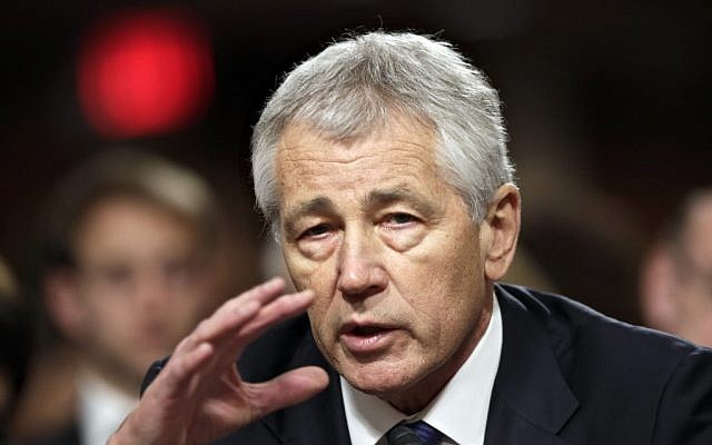 Former Nebraska Republican Sen. Chuck Hagel, President Obama's choice for defense secretary, testifies before the Senate Armed Services Committee during his confirmation hearing, on Capitol Hill in Washington on Jan. 31 (photo credit: AP/J. Scott Applewhite)