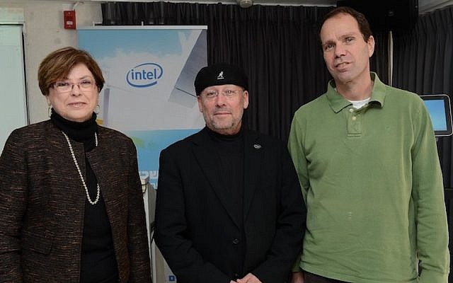 (L to R) Top Intel Israel staff Maxine Fassberg, Mooly Eden, and Roni Friedman at Intel Israel's annual press event (Photo credit: Courtesy)