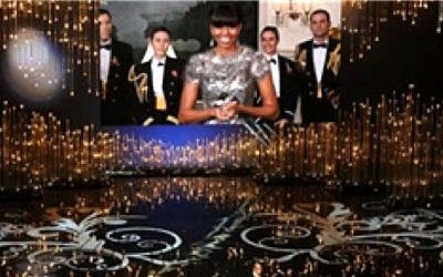 This screen grab taken from the website of Iran's semi-official Fars news agency shows an altered photo of US first lady Michelle Obama presenting the best picture award at the Oscars ceremony via video link on Sunday, Feb. 24, 2013 (photo credit: AP/Fars news agency)