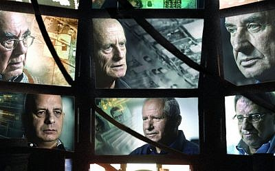 "This publicity photo shows former heads of the Shin Bet security agency, from top left: Avraham Shalom, Ami Ayalon and Yaakov Peri, from bottom left: Yuval Diskin, Avi Dichter and Carmi Gillon in Dror Moreh's documentary film, ""The Gatekeepers."" (photo credit: AP/Sony Pictures Classics/Mika Moreh)"