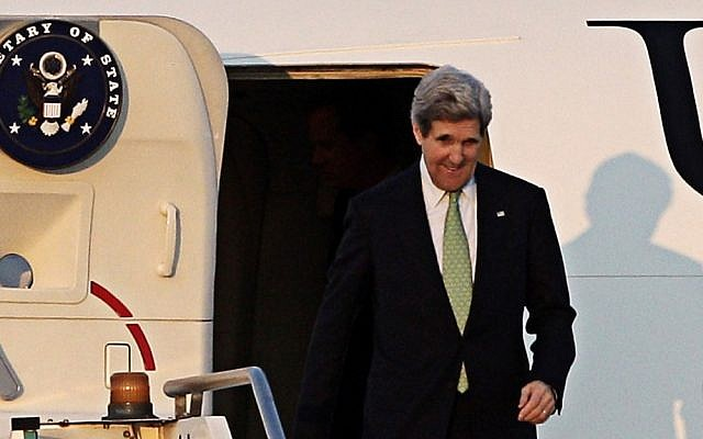 US Secretary of State John Kerry arrives in Rome, Wednesday, February 27, 2013, ahead of an international conference on Syria in Rome Thursday. (photo credit: AP/Riccardo De Luca)