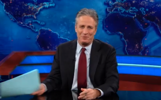 """Jon Stewart on """"The Daily Show."""" (Comedy Central screenshot)"""