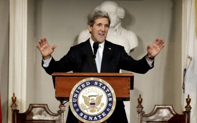 John Kerry addresses constituents in Boston, Massachusetts, on Thursday, January 31. (photo credit: AP/Winslow Townson)