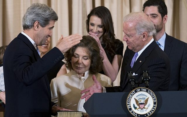 Secretary of State John Kerry, left, with his wife Teresa Heinz Kerry, center, holding the Bible, is ceremonially sworn-in as the 68th Secretary of State by Vice President Joe Biden, right, at the State Department in Washington, Wednesday, Feb. 6 (photo credit: AP/Manuel Balce Ceneta)