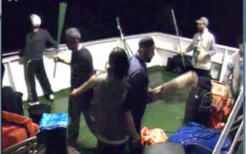 Footage taken from a security camera aboard the Mavi Marmara, showing the activists preparing to resist IDF soldiers about to board the ship. (IDF Spokesperson/Flash90)