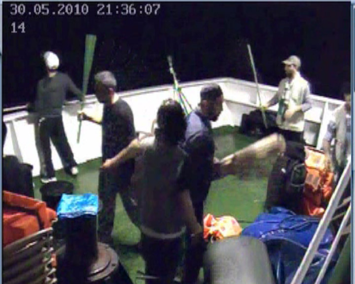 Footage taken from a security camera aboard the Mavi Marmara, showing the activists preparing to resist IDF soldiers about to board the ship. (Photo by IDF Spokesperson / FLASH90)