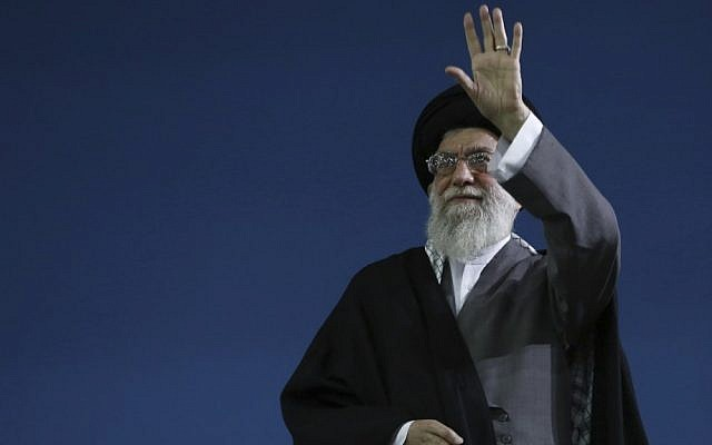 Iran's Supreme Leader Ayatollah Ali Khamenei waves to a crowd after a speech in Tehran. (AP/Office of the Supreme Leader)