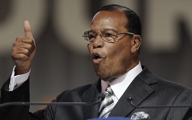 Louis Farrakhan speaks during the Saviours' Day annual convention in Chicago on Sunday (photo credit: AP/Paul Beaty)