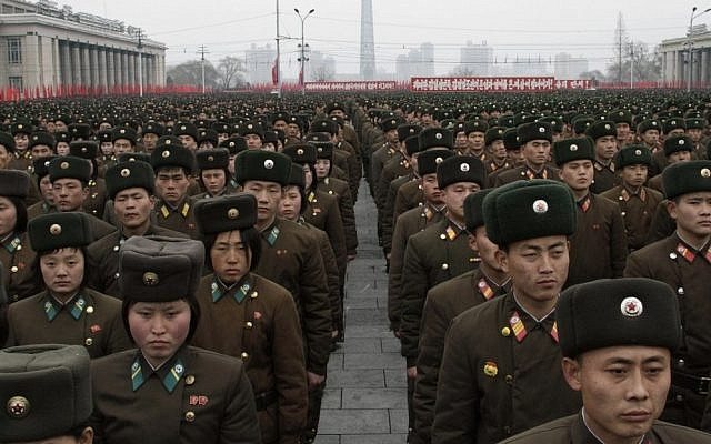 North Korean army officers and soldiers attend a rally at Kim Il Sung Square in Pyongyang, North Korea, in February. (photo credit: AP/Jon Chol Jin)