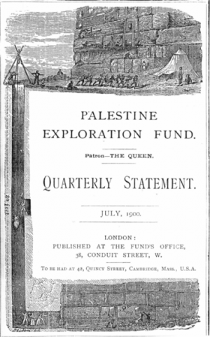 The July 1900 issue of the PEF's journal, documenting the exploration of the Holy Land and its environs (Photo credit: Wikimedia Commons/Public domain)