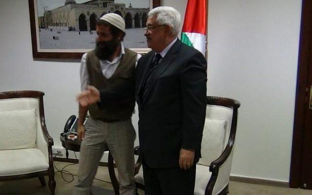 Nachum Pachenik at a meeting with PA President Mahmoud Abbas at the Muqataa in Ramallah, August 2012 (photo credit: courtesy/Nachum Pachenik)