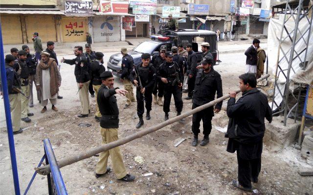 Pakistani police commandos cordon off an area following a blast in Hangu, Pakistan on Friday, Feb 1, 2013. (photo credit: AP/Abdul Basit)