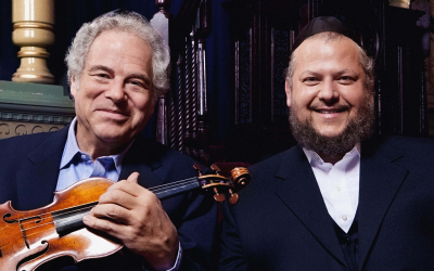 Israeli-born violinist Itzhak Perlman, left, will perform with Manhattan Cantor Yitzchak Meir Helfgot at Brooklyn's Barclays Center on Feb. 28. (Lisa-Marie Mazzucco via JTA)