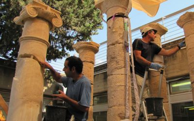 Reconstructing pillars from the theater and mausoleum at Herodium (photo credit: Andrei Vainer)