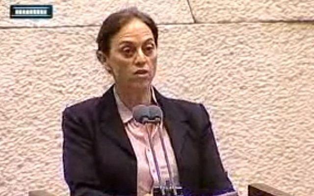 Ruth Calderon speaks to the Knesset, Tuesday (photo credit: screen capture Knesset Channel)