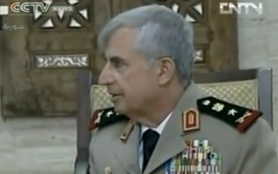 Syrian Chief of Staff General Ali Abdullah Ayoub (photo credit: image capture from YouTube video uploaded by GoUTube123)