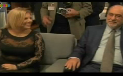 Sara Netanyahu and Supreme Court President Asher Grunis, in the Speaker's Office before Tuesday's Knesset ceremony (photo credit: Channel 10 screenshot)