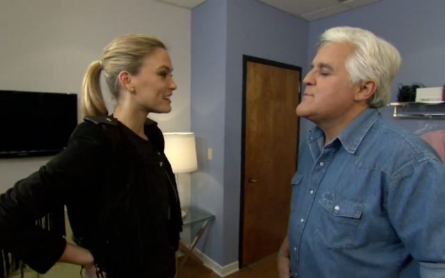 Jay Leno (right) puckers up for Bar Refaeli (photo credit: image capture from YouTube)