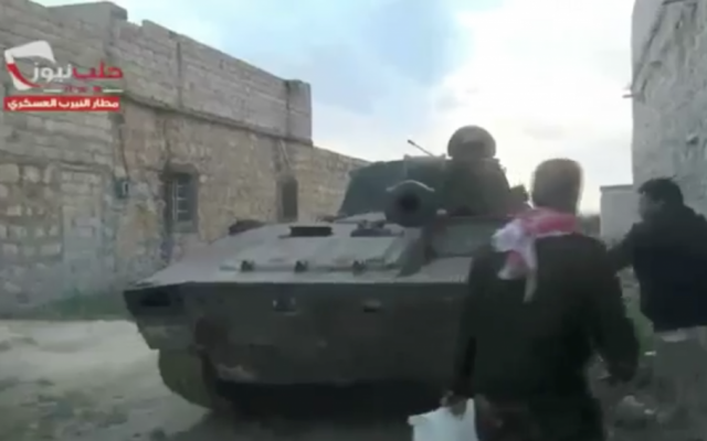 A Free Syrian Army tank in Aleppo (photo credit: screenshot YouTube)