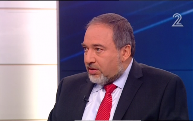 Yisrael Beytenu leader Avigdor Liberman speaks with Channel 2 on Saturday, February 9. (photo credit: image capture from Channel 2)