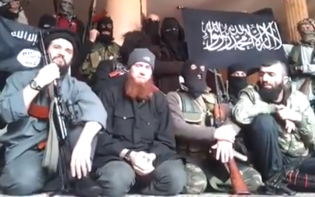 Illustrative image of jihadists from the Caucasus seen in a video posted on Facebook. (screen capture: YouTube)