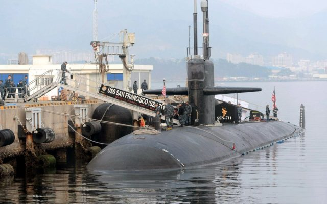 A US nuclear-powered submarine, is docked before South Korea and US joint military exercises, at Jinhae naval base, South Korea, February 1 (photo credit: AP/Yonhap)