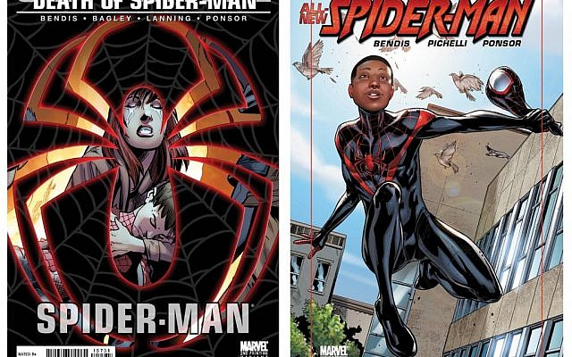 Marvel Comics hired Brian Michael Bendis to kill Peter Parker, left, Spider-Man's old alter ego. In his place, Bendis created a half-black, half-Hispanic hero who angered conservative commentators. (Courtesy of Marvel Comics via JTA)