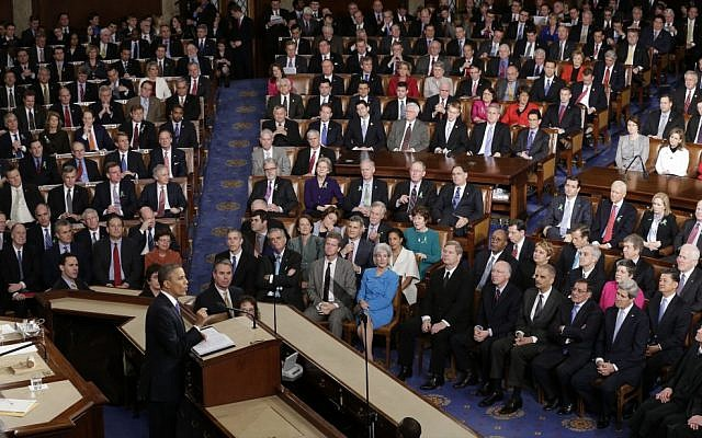 An illustrative image of a joint session of Congress in Washington, as US President Barack Obama gives his State of the Union address during Feb. 12, 2013 (photo credit: AP/J. Scott Applewhite)