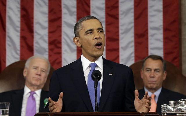 President Barack Obama, flanked by Vice President Joe Biden and House Speaker John Boehner of Ohio, gives his State of the Union address during a joint session of Congress on Capitol Hill in Washington, Tuesday Feb. 12, 2013. (photo credit: AP/Charles Dharapak)