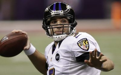Baltimore Ravens quarterback Joe Flacco plays in last February's Super Bowl. (Elise Amendola/AP)