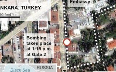 Satellite map locates Ankara, Turkey site of a US embassy explosion. (photo credit: AP)