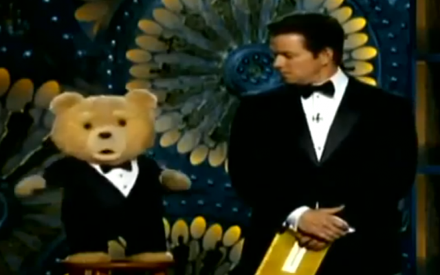 "The puppet star of ""Ted"" claimed he was Jewish at Sunday's Oscars, and co-presenter Mark Wahlberg called him an ""idiot."" (YouTube screenshot)"