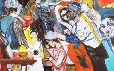"Kitaj paintings such as ""The Wedding"" make it difficult for viewers to fix their gaze on any single element or area of the image. (Courtesy of the Tate, London, 2012)"
