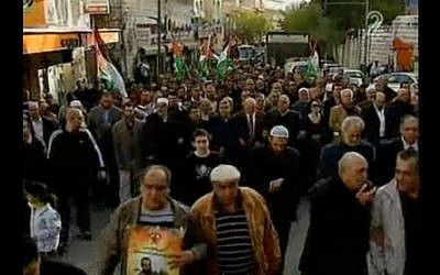 Arab Israeli Islamist activists, community leaders and MKs march in Nazareth to show solidarity with Palestinian prisoners hunger-striking in Israeli prisons. (screen capture: Channel 2)