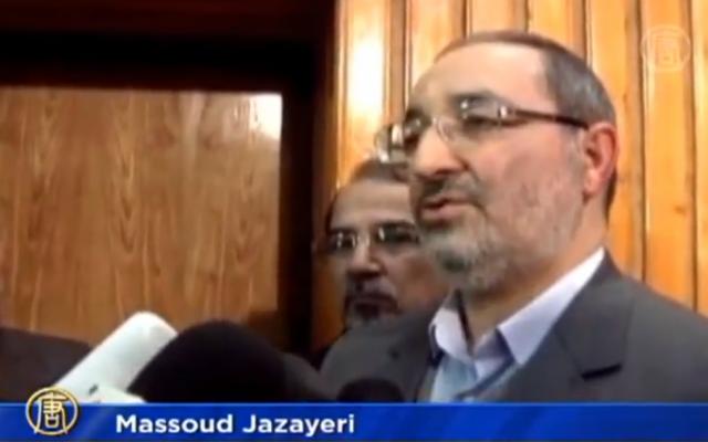 Iranian Brig. Gen Masoud Jazayeri (photo credit: image capture from YouTube video uploaded by NTDSpanish)